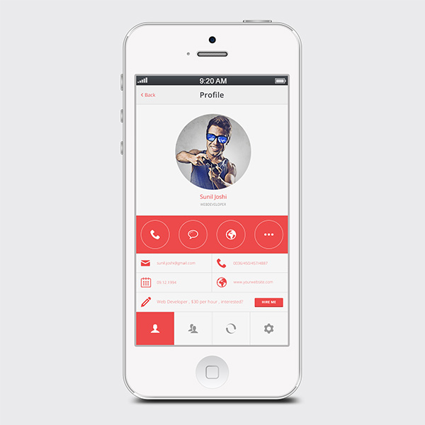 white ui elements ui profile app profile orange mobile profile app minimal free download free circle avatar app