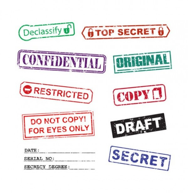 10 High Security Confidential Vector Ink Stamps