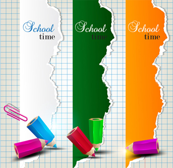 vertical vector torn school ripped pencils paper grid paper free download free colorful banners background