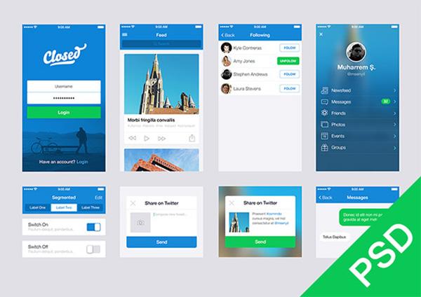 Blue app design ui elements kit welovesolo for App design online