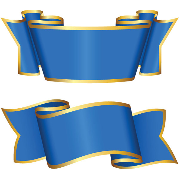 2 Gold Trimmed Blue Ribbon Banners Set - WeLoveSoLo