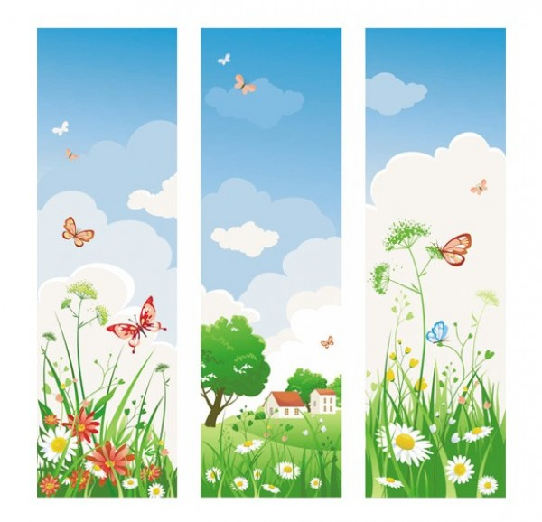 web vertical vector unique ui elements sunny stylish spring quality original new interface illustrator high quality hi-res HD graphic fresh free download free flowers floral elements download detailed design daisy daisies creative butterflies banners banner
