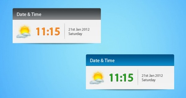 5 Fresh Date & Time Widget Interface PSD - WeLoveSoLo