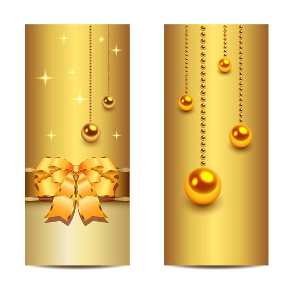 vertical vector ribbon golden gold free download free bow beads banners balls 2 golden christmas - Golden Christmas 2