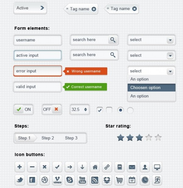 web ui kit web unique ui kit ui elements ui tags stylish step button social icons slider search field rating quality original new modern light interface icons hi-res HD grey fresh free download free elements download detailed design creative clean buttons