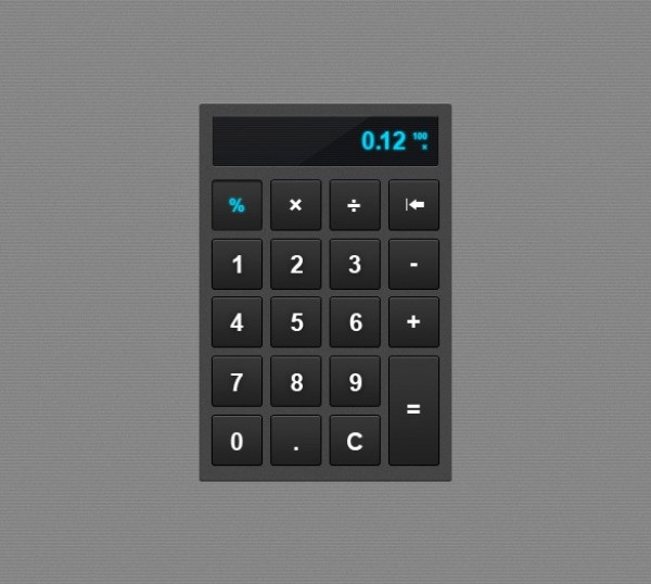 Pixel Perfect Grey Calculator Element PSD - WeLoveSoLo