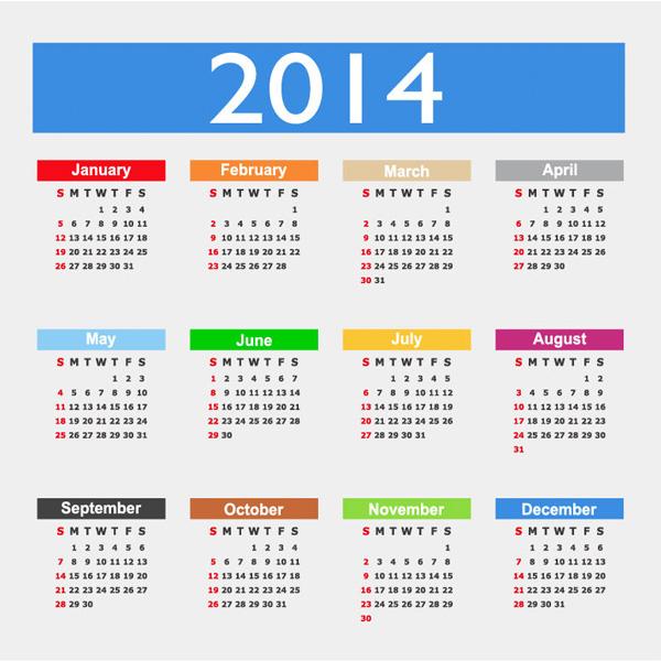 year windows 8 vector metro free download free flat colorful calendar 2014 calendar 2014