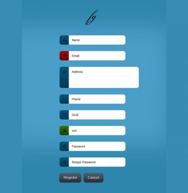 classy registration form template psd welovesolo