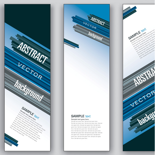 3 angled lines vertical business banners set