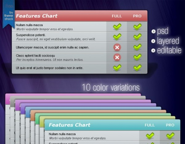 features chart comparison table set psd welovesolo