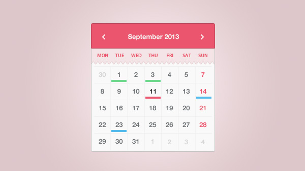 Weekly Calendar Css : Month calendar widget coded css and psd welovesolo