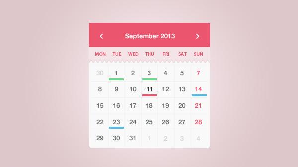 Weekly Calendar Css : Month calendar widget coded css and psd welovesolo