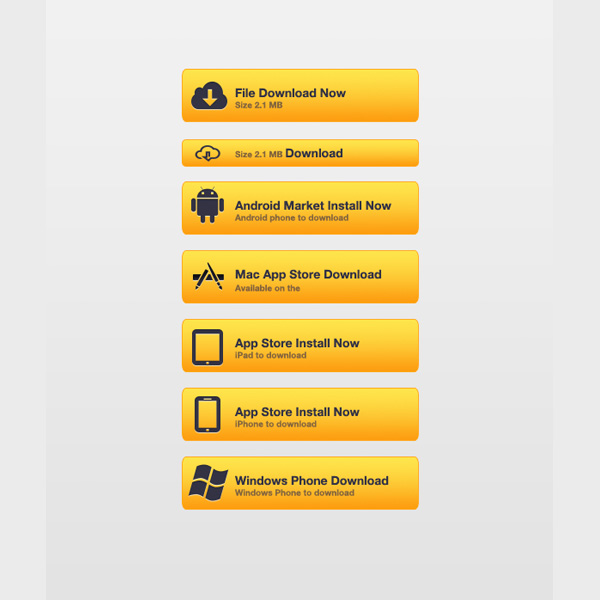 Home Design App Free Download: Vivid Yellow Download App Buttons Set PSD