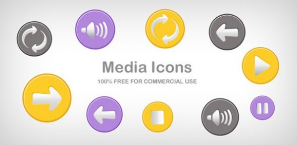 yellow web unique ui elements ui stylish stop speaker round quality purple psd png player play pause original new modern media icons media interface icons hi-res HD grey fresh free download free elements download detailed design creative clean buttons