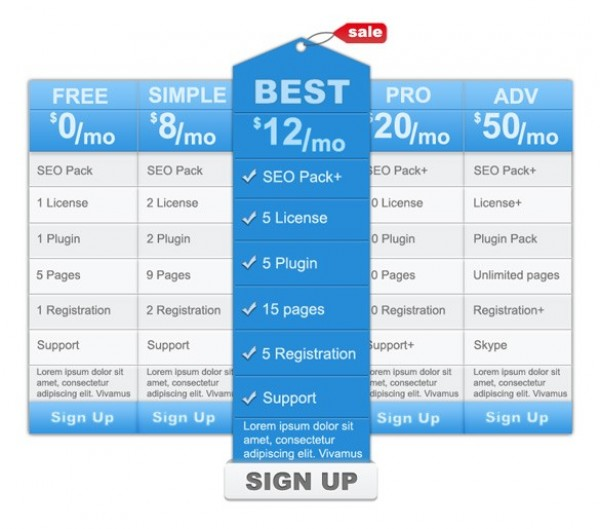 Blue Clean Web UI Pricing Table Template PSD - WeLoveSoLo