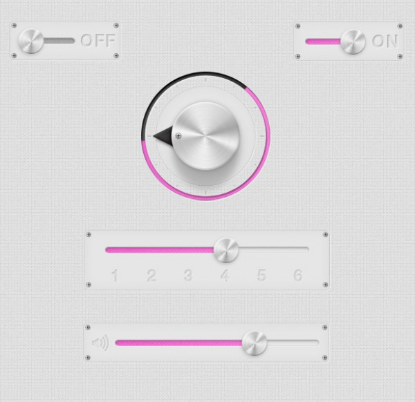 user interface elements ui toggle slider psd source files pink photoshop resources knob grey free ui elements Chrome