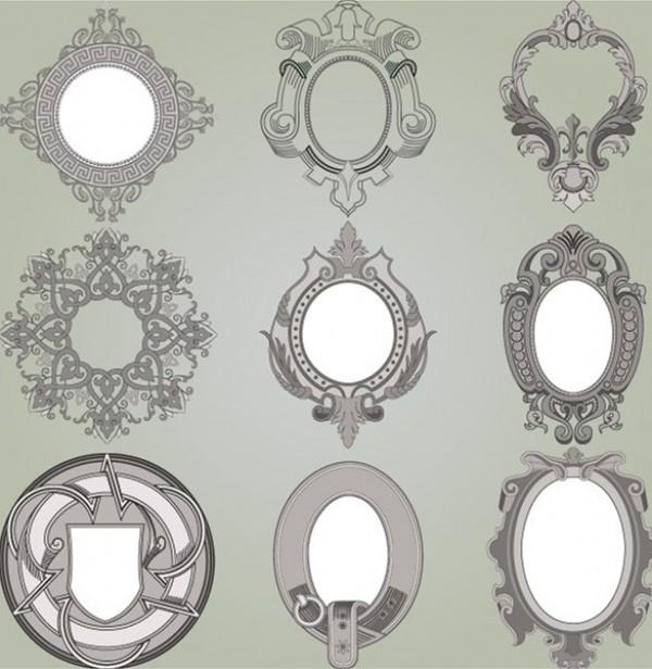 9 Ornate Vintage Scroll Frames Vector Set - WeLoveSoLo