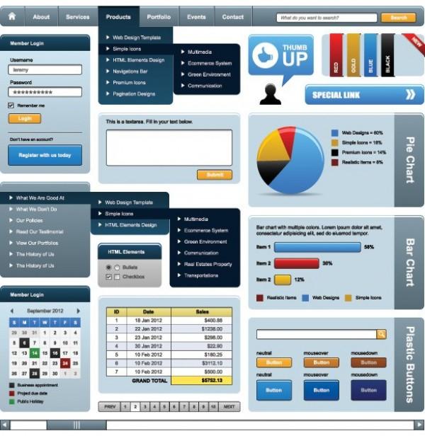 Blue Web UI Design Vector Elements Pack - WeLoveSoLo