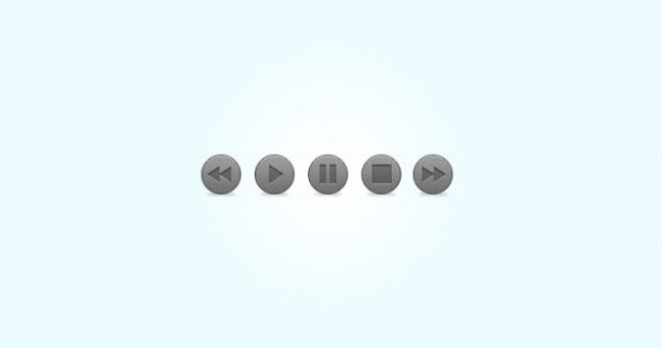5 Grey Audio Player Buttons Set PSD - WeLoveSoLo