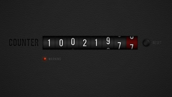 web unique ui elements ui stylish reset button quality psd original numbers number counter new modern interface hi-res HD fresh free download free elements download detailed design dark creative counter clean black