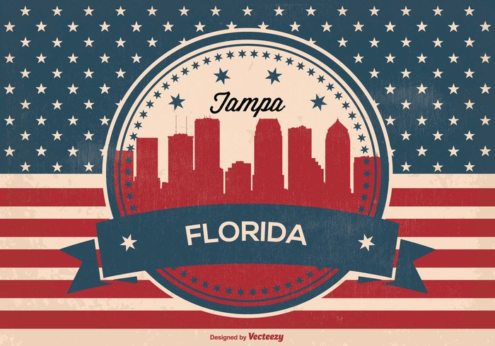 001owdbtsv2iq10 Retro Tampa Florida Skyline Illustration