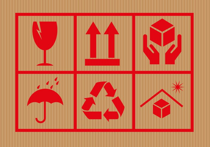 transportation transport symbol sticker sign shipping rounded red protection protect package notice label handle with care sticker handle fragile element delivery delivering carton careful care cardboard box bottom background attention
