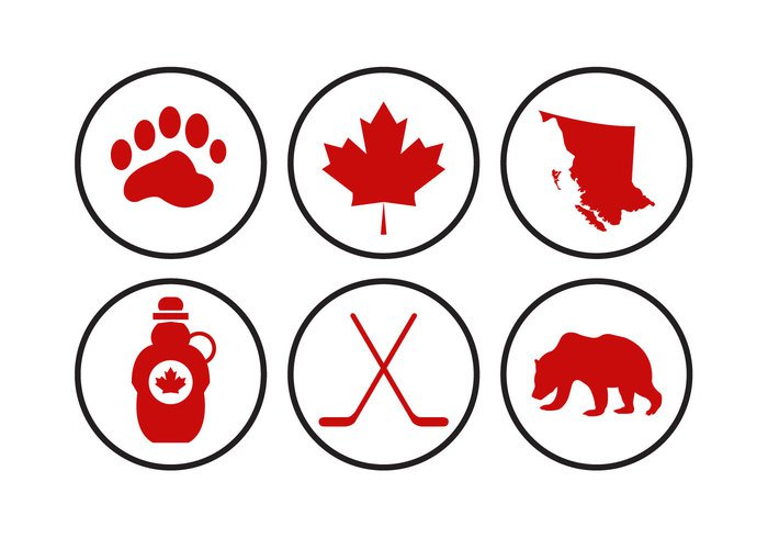 white travel tourism syrup symbol set mountain maple map leaf isolated illustration hockey flag culture Canadian canada british columbia map british columbia British bear background