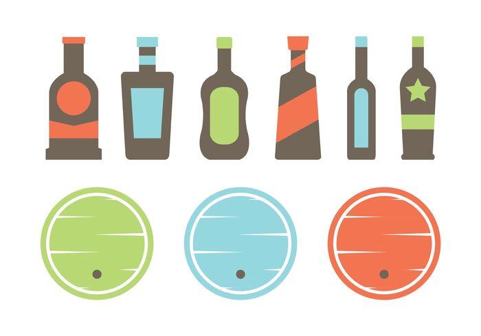 whiskey barrel whiskey vintage vector symbol set retro restaurant pub minimal logo label isolated illustration icon graphic glass flat design design craft company colorful bottle barrel bar background alcohol