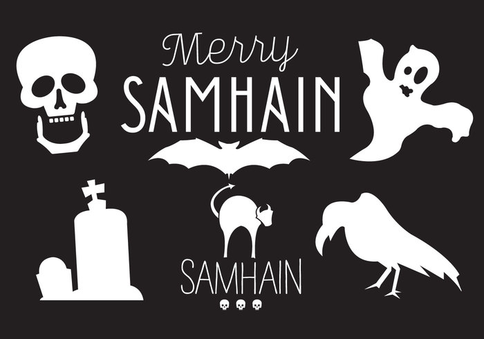 witch white Tombstone symbol spooky skull silhouette set scary samhain raven pumpkin orange October night isolated holiday happy Samhain halloween ghost Fall dark cute crow cat cartoon candy black bat background