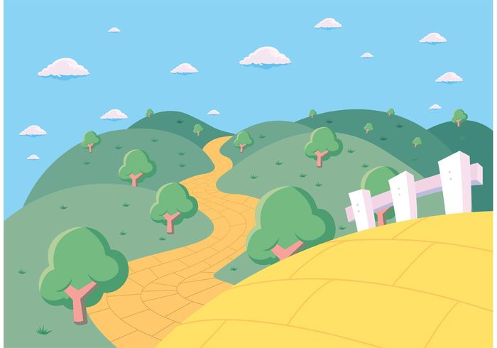 yellow brick road yellow wizard of oz Way tree street scenery scene rural road path outdoors nature landscape horizon hill grass golden gold fields far dorothy Distance clouds brick background