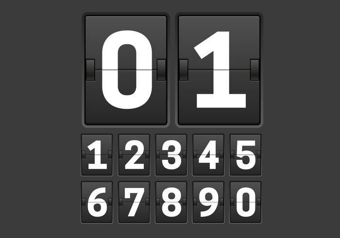 white vector timetable timer Scoring scoreboard score retro panel Outdated number counter number mechanical panel hour elements display day date dashboard counter countdown clock board background analog