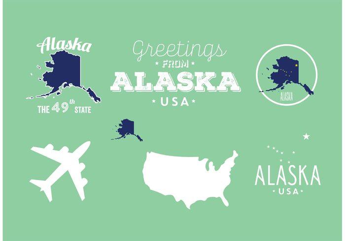 USA typographic text symbol state star stamp silhouette sign print map label icon grunge geography flag badge background america alaska map alaska flag alaska