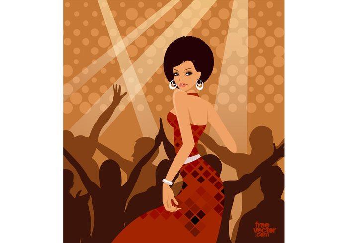 woman sexy party hot girl fashion dress disco dancing dance Crowds club cartoon beauty beautiful Afro hair