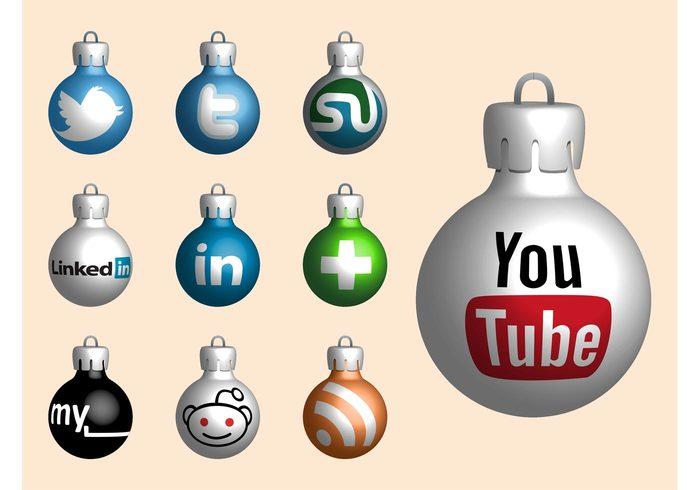 youtube Web graphics twitter StumbleUpon social media RSS reddit netvibes Myspace holiday festive