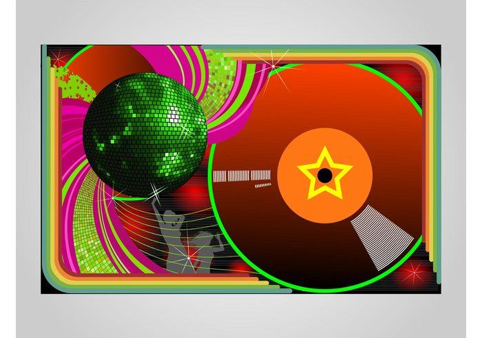 vinyl star silhouettes shiny shine people music mirror ball mirror Glitter ball girls fun disco dancing dance colors club 70's 60's