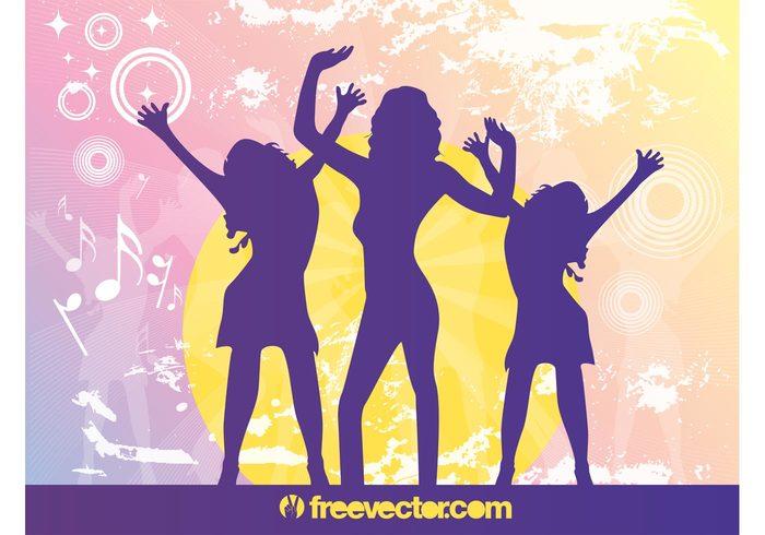 women woman silhouettes sexy party music girls fun disco dancing dance club