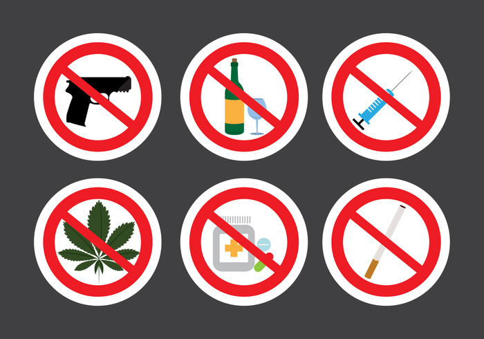 Set Of Prohibition Signs In Vector