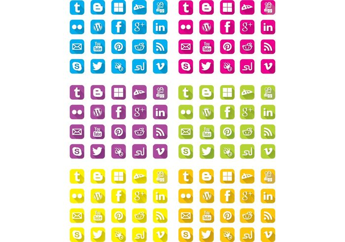 youtube wordpress twitter StumbleUpon social media social long shadow google plus flat Facebook