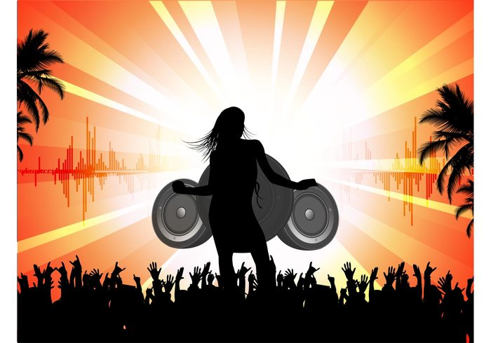 summer speakers sexy party palms music girl fun flyer DJ disco dancing dance crowd cool club beach