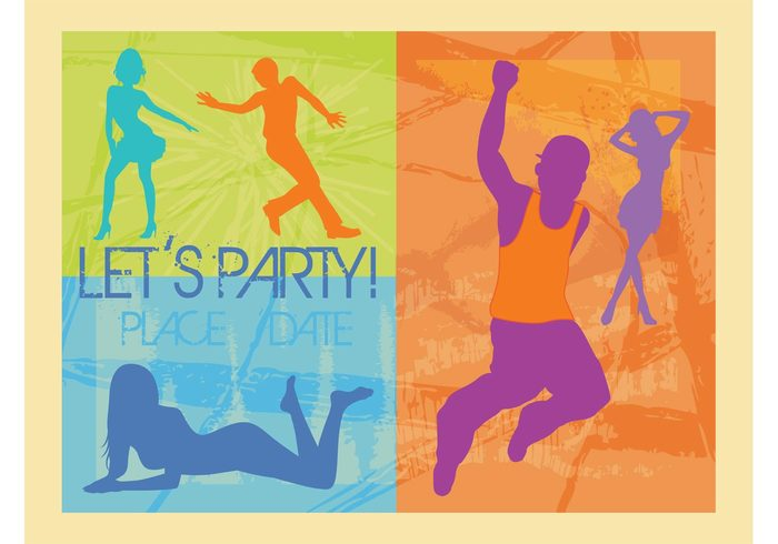 women woman template silhouettes people party men man invitation grunge dancers dance background