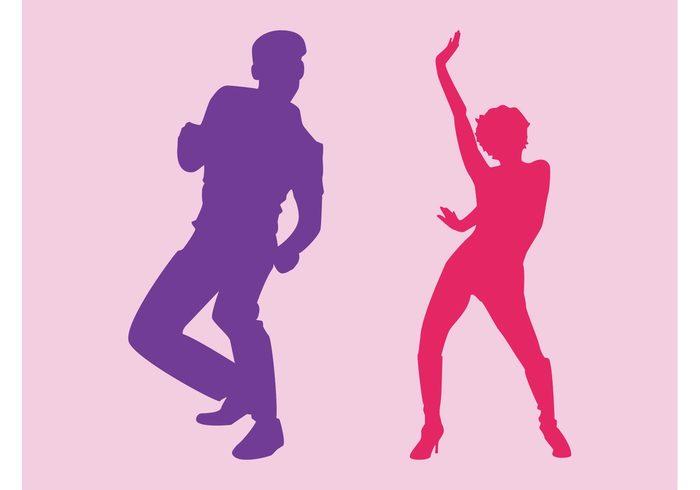 woman silhouettes Party vector party music Move man male girl fun female disco dancers dancer dance club boy
