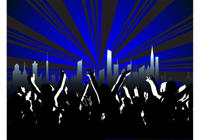 urban silhouettes rays poster people music light flyer disco dance crowd club cityscape city buildings