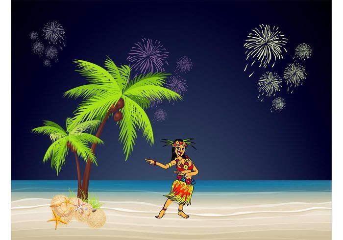 tropical summer shore shell sea sand palm night Hawaiian girl Fireworks Exotic girl exotic dancing dancer dance celebration beach