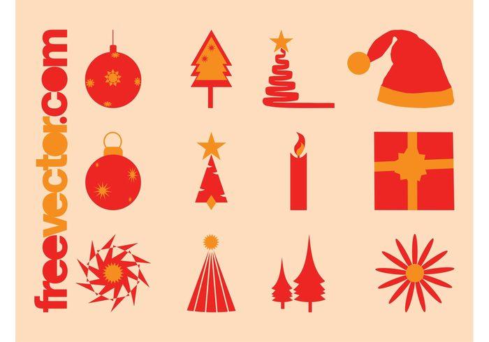 trees symbols present ornaments logos icons holiday hat festive decorations christmas celebration candle balls