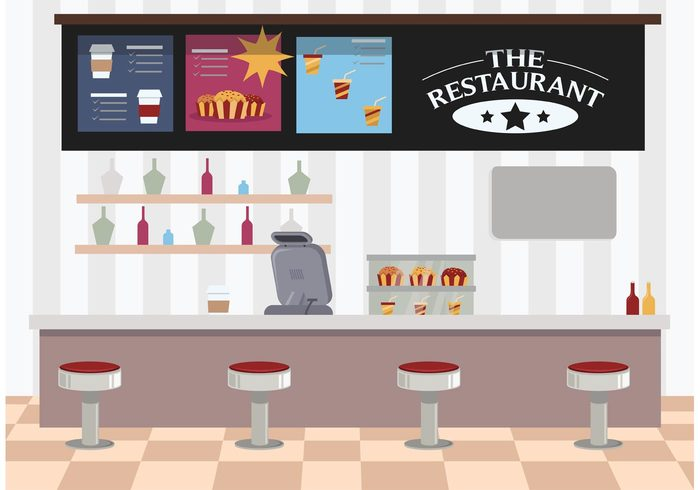 table store shop service restaurant interior restaurant purchasing order menu interior food flat drink dessert customer cupcakes cup counter concept coffee cashier cake business breakfast bakery background 50s diner