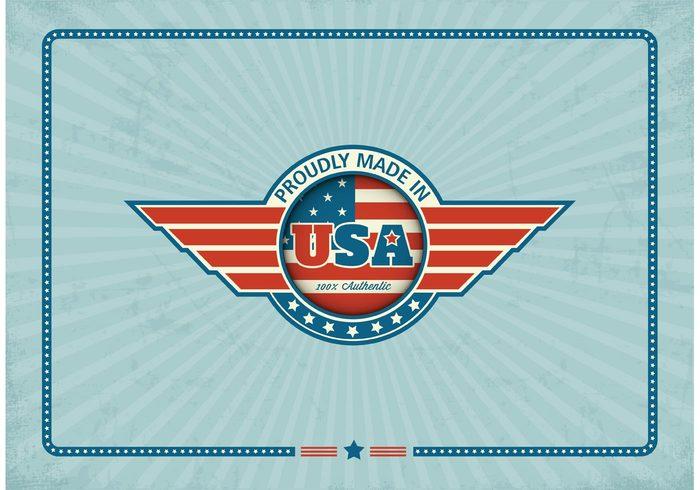 vintage vector USA United sunburst stylized stripes stripe sticker states stars star retro poster patriotic old national made in usa made label flag emblem design concept beams background american america