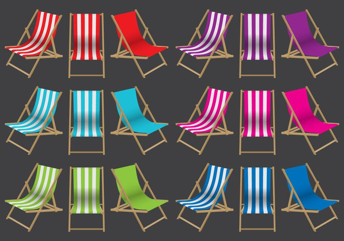 wooden white vacation traditional stripes striped seat Retirement resting rest Relaxation relax red Nobody No one isolated garden furniture empty deckchair deck chair deck Colourful Colour colorful color chair canvas background