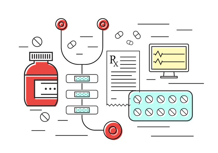 thin technology stethoscope set science research pills pharmacy modern medicine medical line Laboratory infographic illustration icons icon hospital heart monitor healthcare health graphic flat equipment doctor concept care background aid