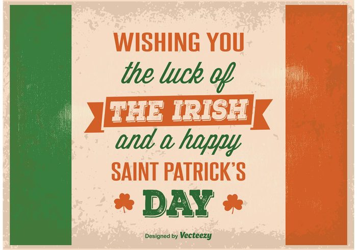 vintage typography st patrick's day spring shamrock saint retro poster March lucky luck Irish Ireland holiday happy saint patrick's day happy grunge green event clover background 17th 17