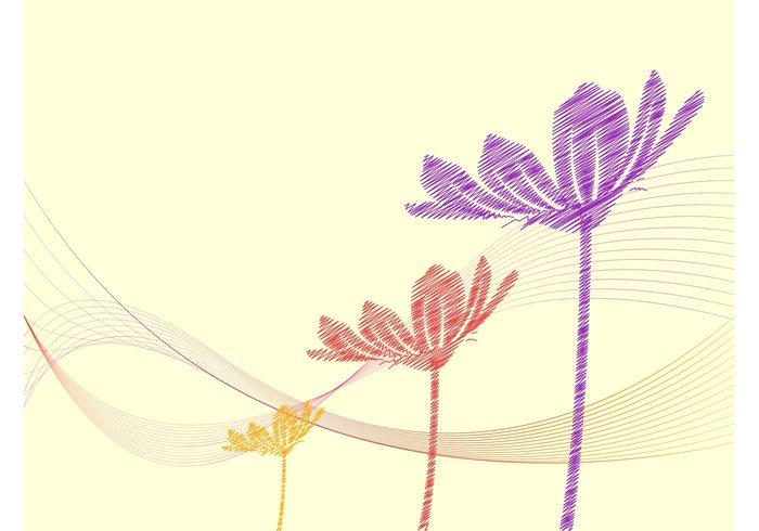 wireframes waves wallpaper summer Stems spring petals nature lines hand drawn flowers floral doodles doodled background